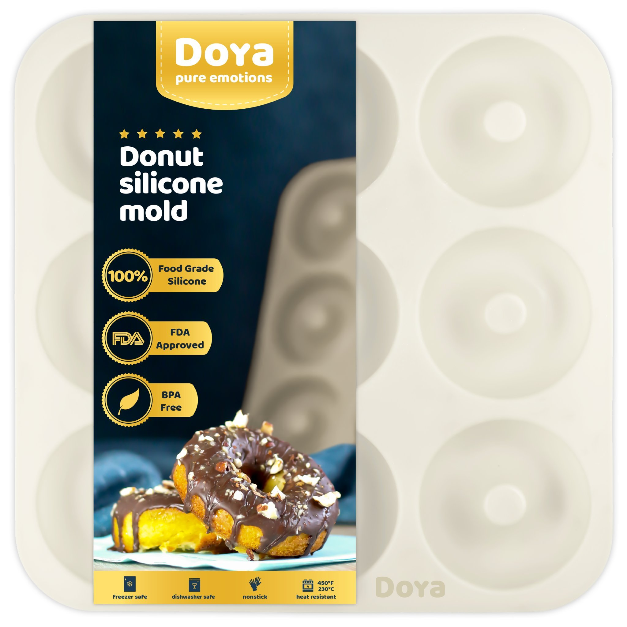 Premium Silicone Donut Pan - Best For Baking Full Size Doughnuts | FDA approved | BBA free | 100% Food Grade Silicone | 9 Cavity Doughnut Pan Makes A Great Gift