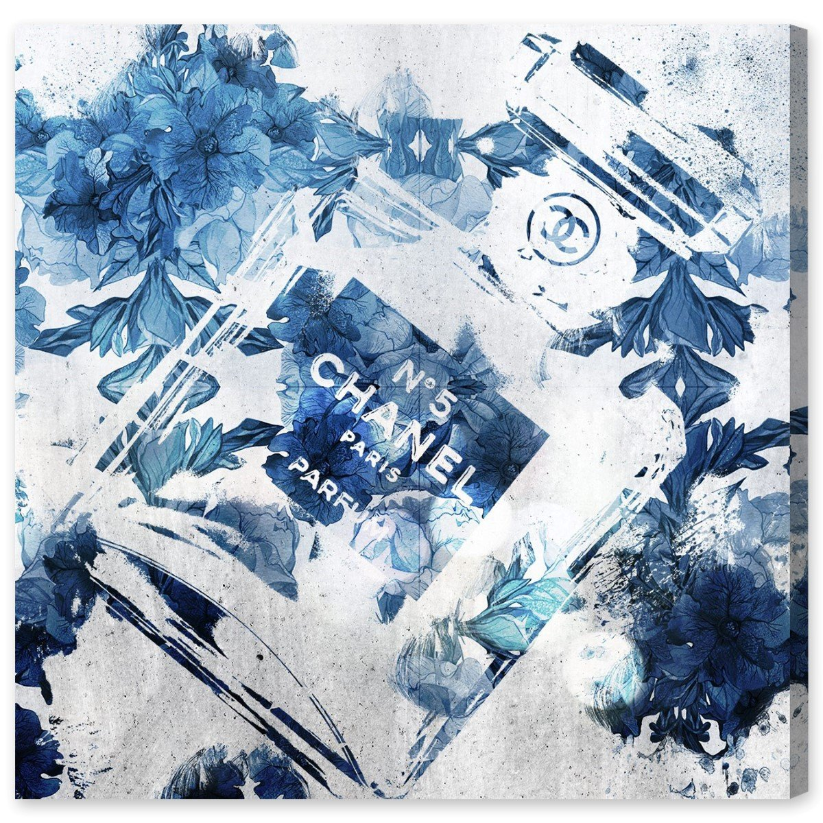 Amazon.com: Blue Flower Scent by Oliver Gal | Contemporary Premium Canvas Art Print. The Fashion Wall Art Decor Collection. 20x20 inch, Blue: Wall Art