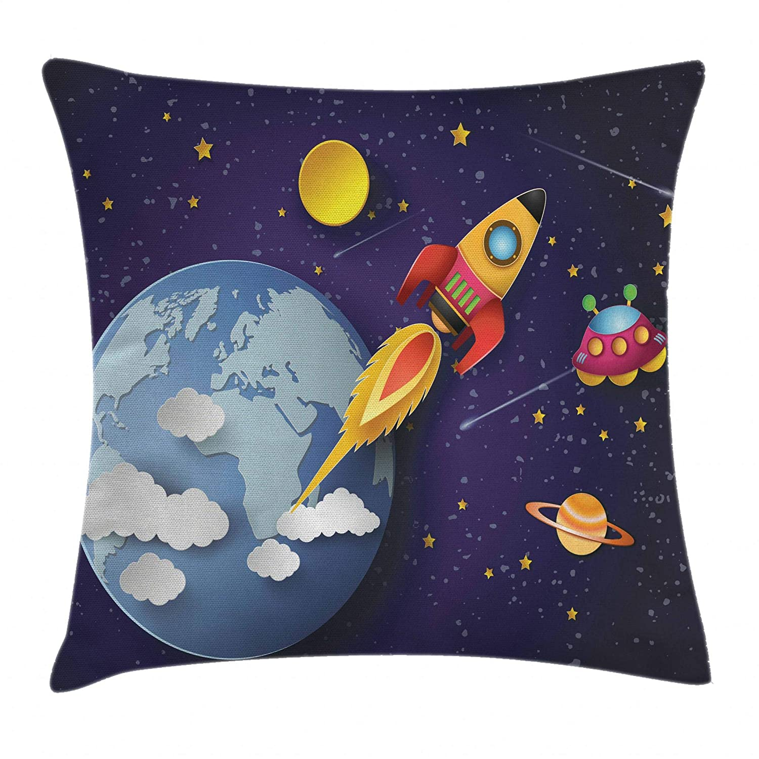 Ambesonne Outer Space Throw Pillow Cushion Cover, Rocket on Planetary System with Earth Stars UFO Saturn Sun Galaxy Boys Print, Decorative Square Accent Pillow Case, 16 X 16 Inches, Multicolor min_32776_16X16