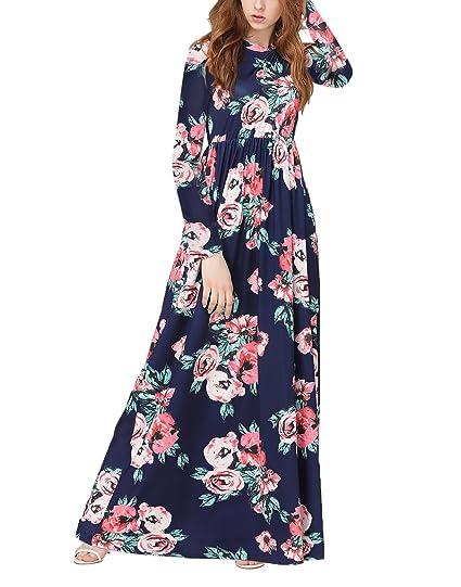 Vintage Chic Yidarton Longue Ronde Manche Robe Fleurie Femme WI2DEH9