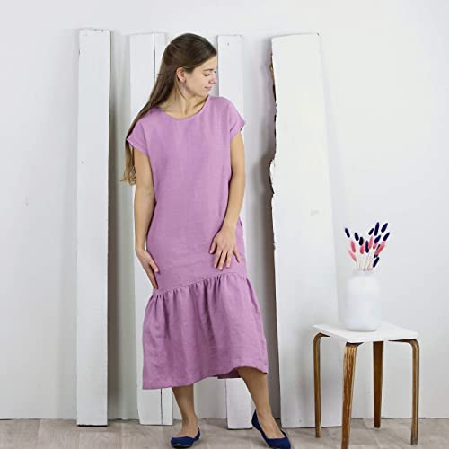 Eco Dress Handmade linen dress with frills Knitted linen dress Linen dress