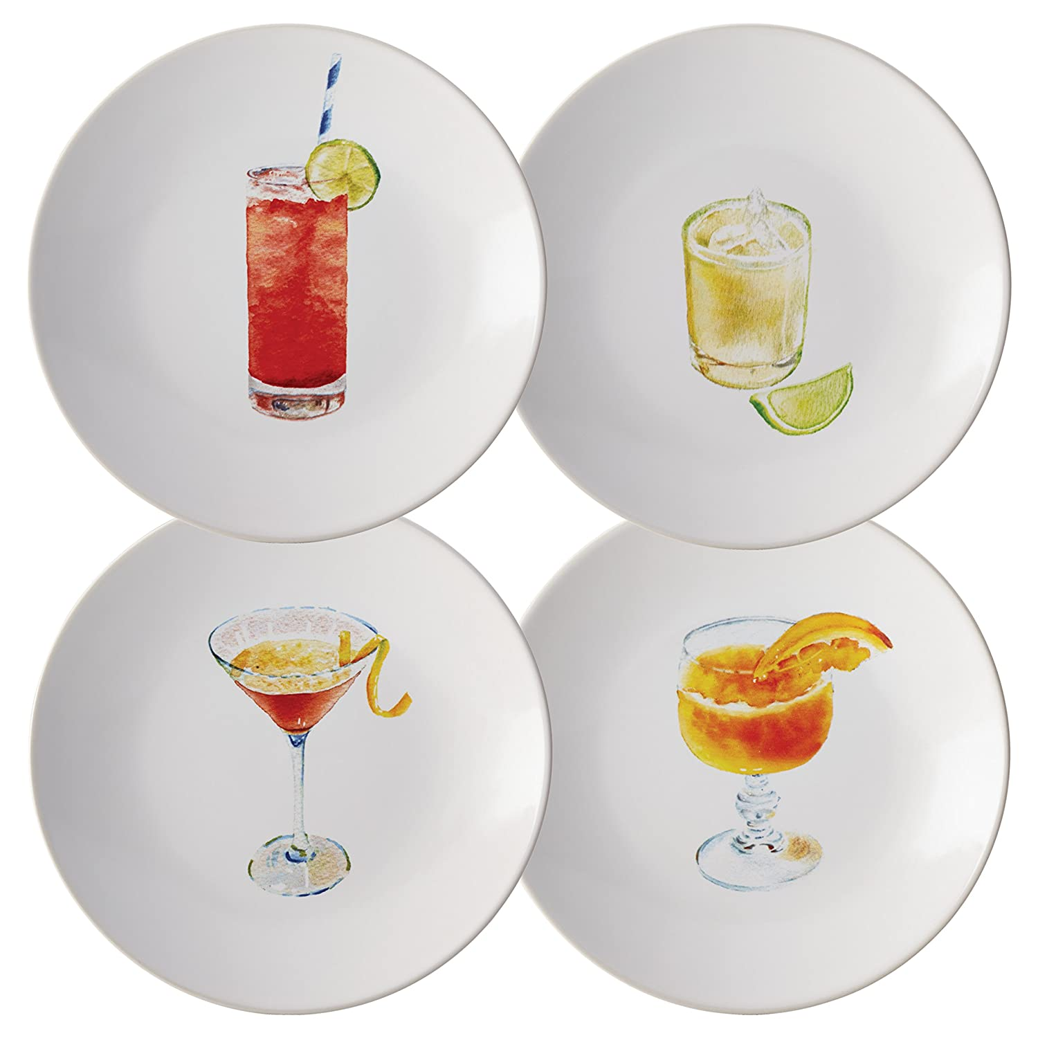 Rachael Ray Dinnerware Cocktails 4-Piece Stoneware Party Plate Set, Assorted Meyer 55278