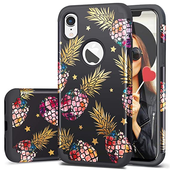 sports shoes 55619 63855 Fingic iPhone XR Case Pineapple,iPhone XR Cases,Pineapple&Shinny Star  Design 2 in 1 Hybrid Case Hard PC&Soft Rubber Protective Case for Girls  Cover ...