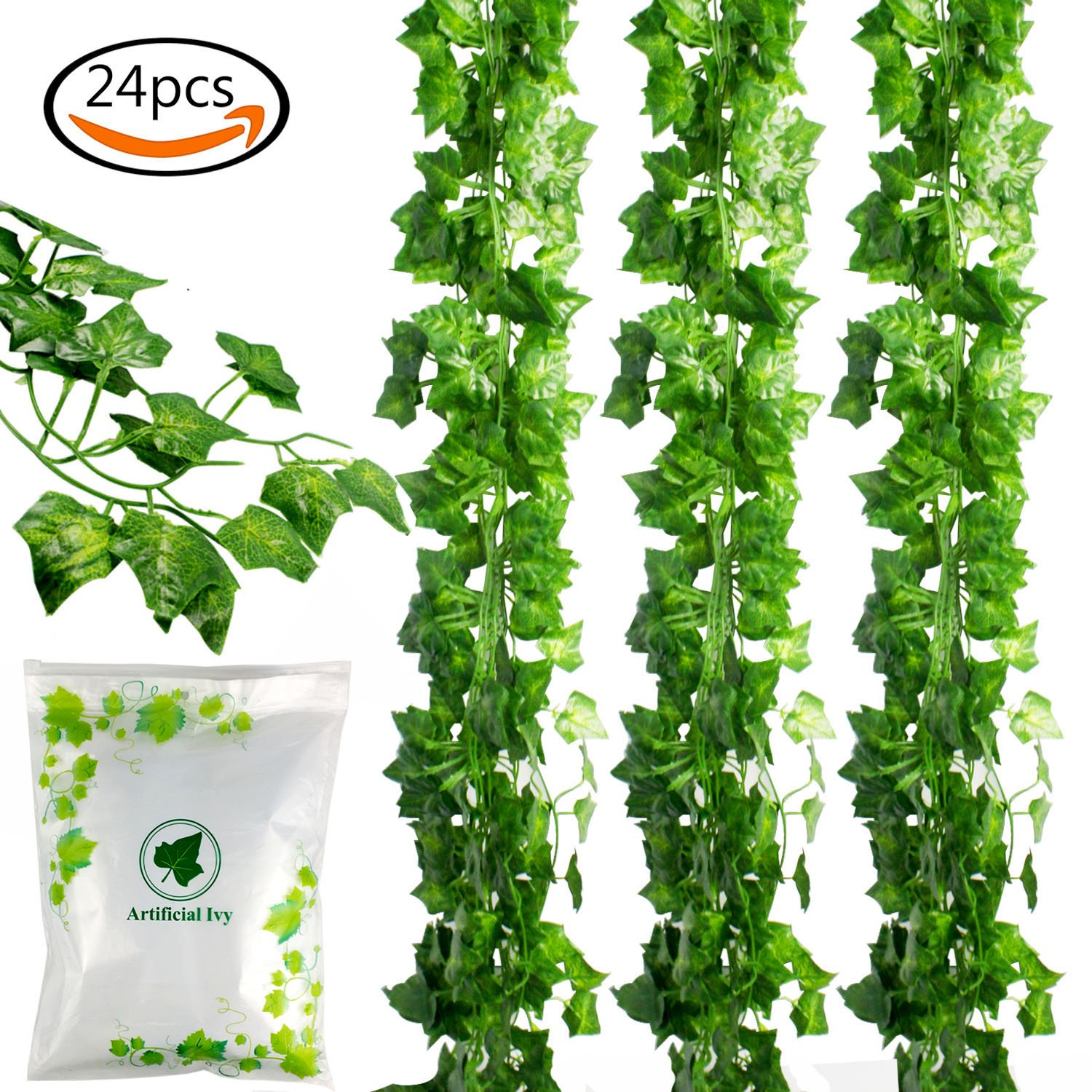 JPSOR 24pcs (157 Feet) Artificial Greenery Fake Ivy Leaves Garland Hanging  For Wedding Party