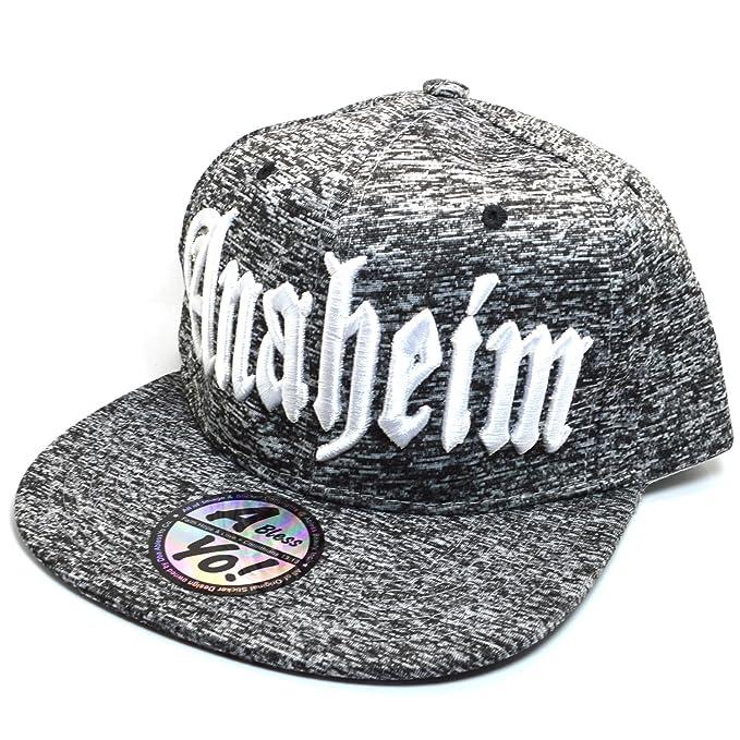 43f67c6a1cbe1 AblessYo Old English Black Heather Snapback Bill Flat Visor Cap Hiphop Hat  AYO1148 (Anaheim)