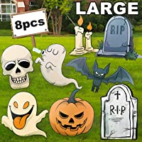 Audoc Large 8Pcs Halloween Yard Stakes Signs for Outdoor Halloween Lawn Decorations, Pumpkini;1/4Ghosti;1/4Tombstonei;1/4Skeleton, Bat, Candle Family Friendly Trick or Treat Party