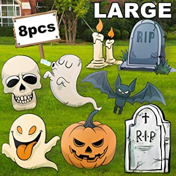Audoc Large 8Pcs Halloween Yard Stakes Signs