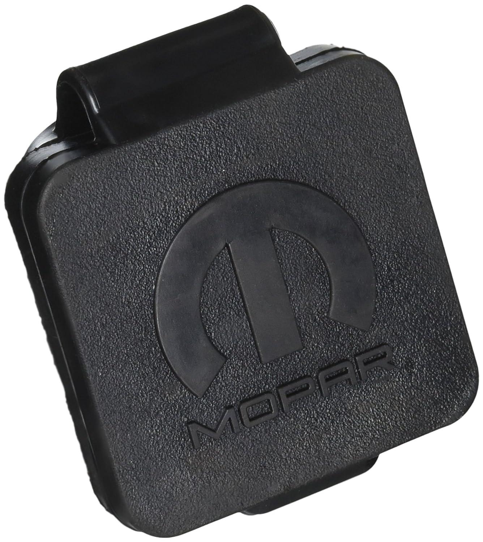Mopar 1 Pack 82208455AB Hitch Plug Black 2 Logo