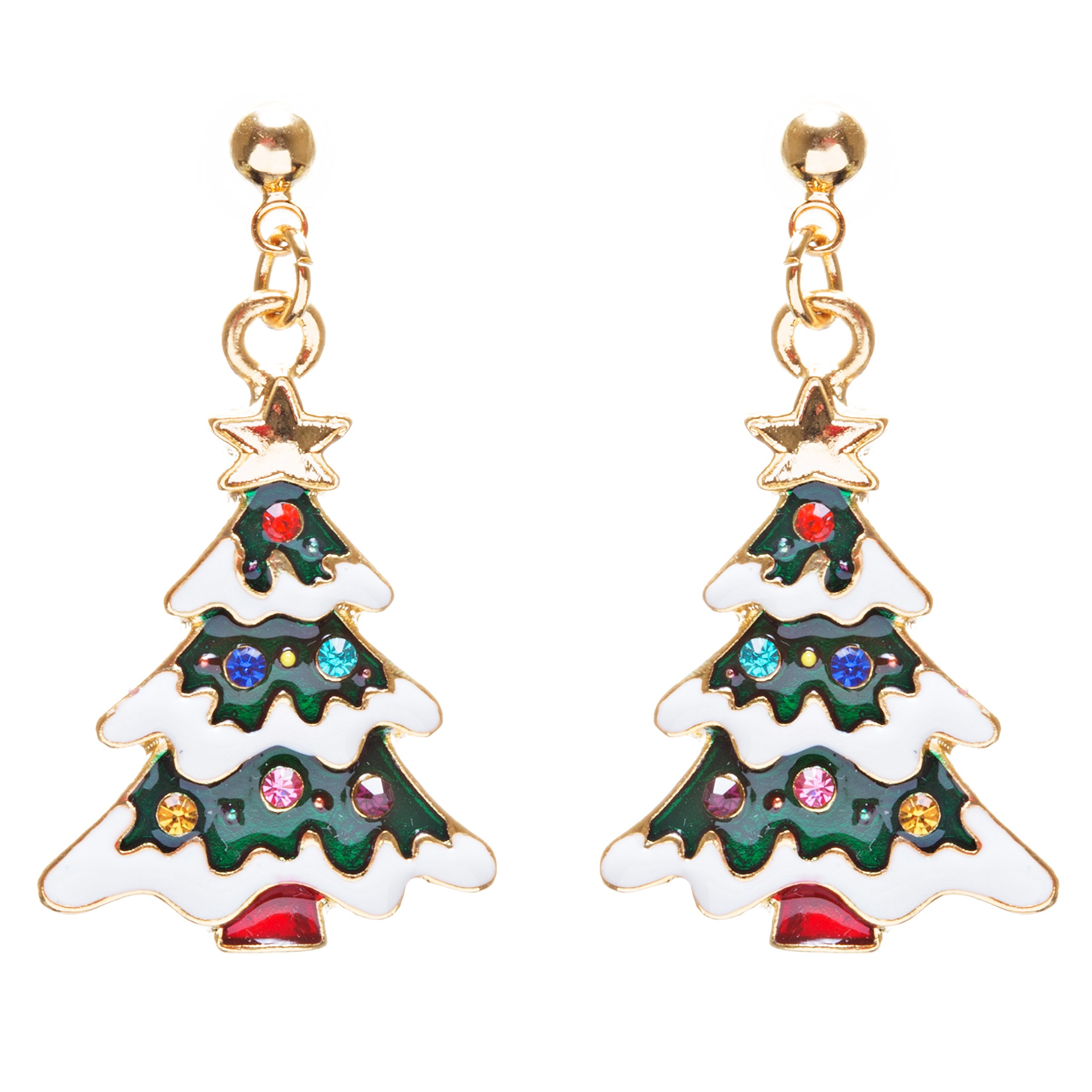 ACCESSORIESFOREVER Christmas Jewelry Crystal Rhinestone Lovely Holiday Tree Earrings E903 Multi