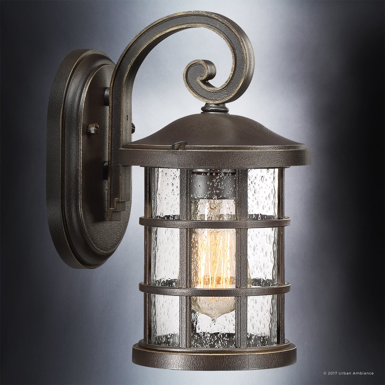 Luxury Craftsman Outdoor Wall Light, Small Size: 11'' H x 6'' W, with Tudor Style Elements, Wrought Iron Design, Oil Rubbed Parisian Bronze Finish and Seeded Glass, UQL1041 by Urban Ambiance by Urban Ambiance (Image #3)
