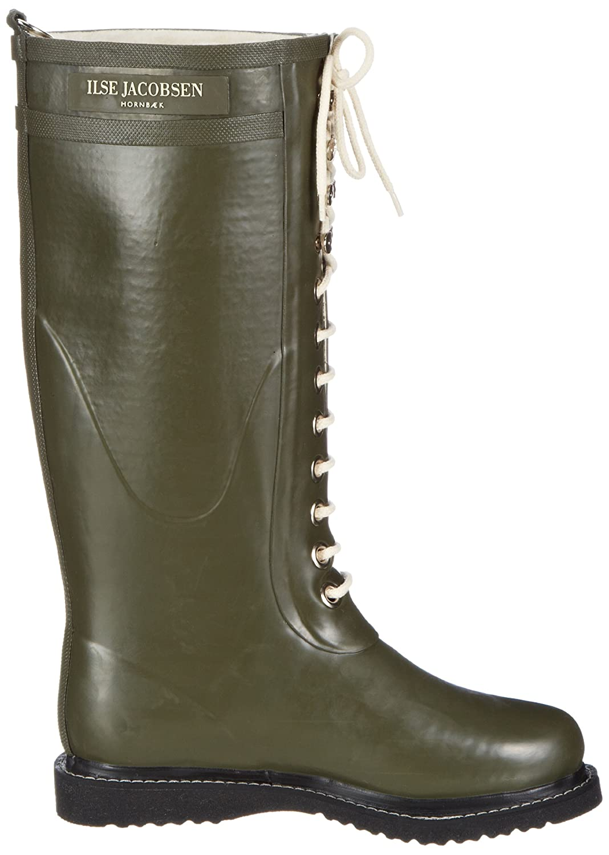 Ilse Jacobsen Damen Gummistiefel     Schuhe aus 100% Natur Bio Gummi   garantiert PVC frei   Lange Stiefel mit Schnürsenkel aus 100% Baumwolle   RUB1 Grün 40 EU 677e7b