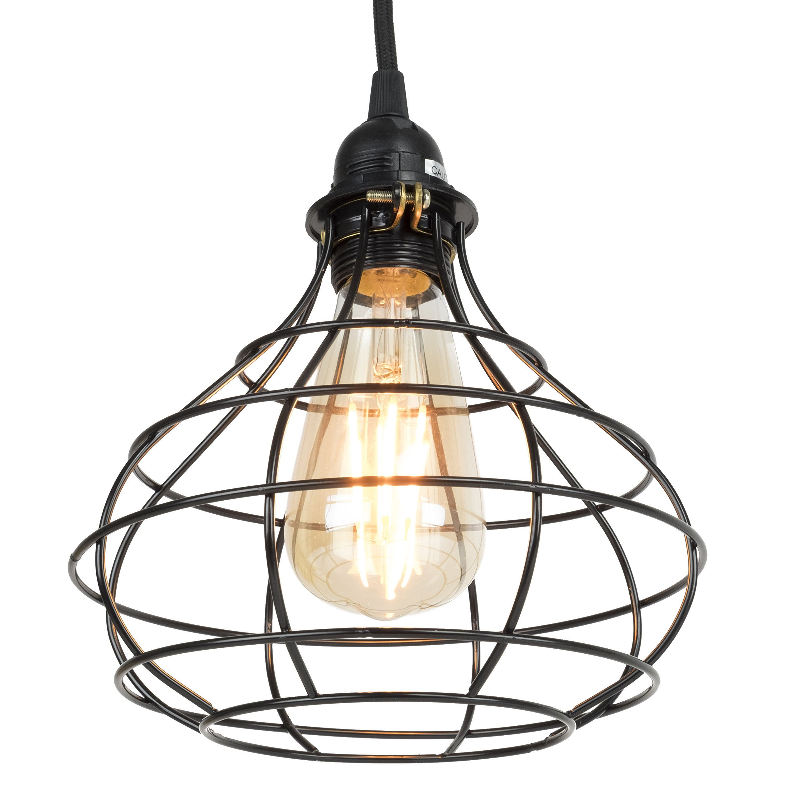 Industrial Cage Pendant Light with 15' Black Fabric Plug-in Cord and Toggle Switch Includes Edison LED Bulb in Black by Rustic State (Image #5)
