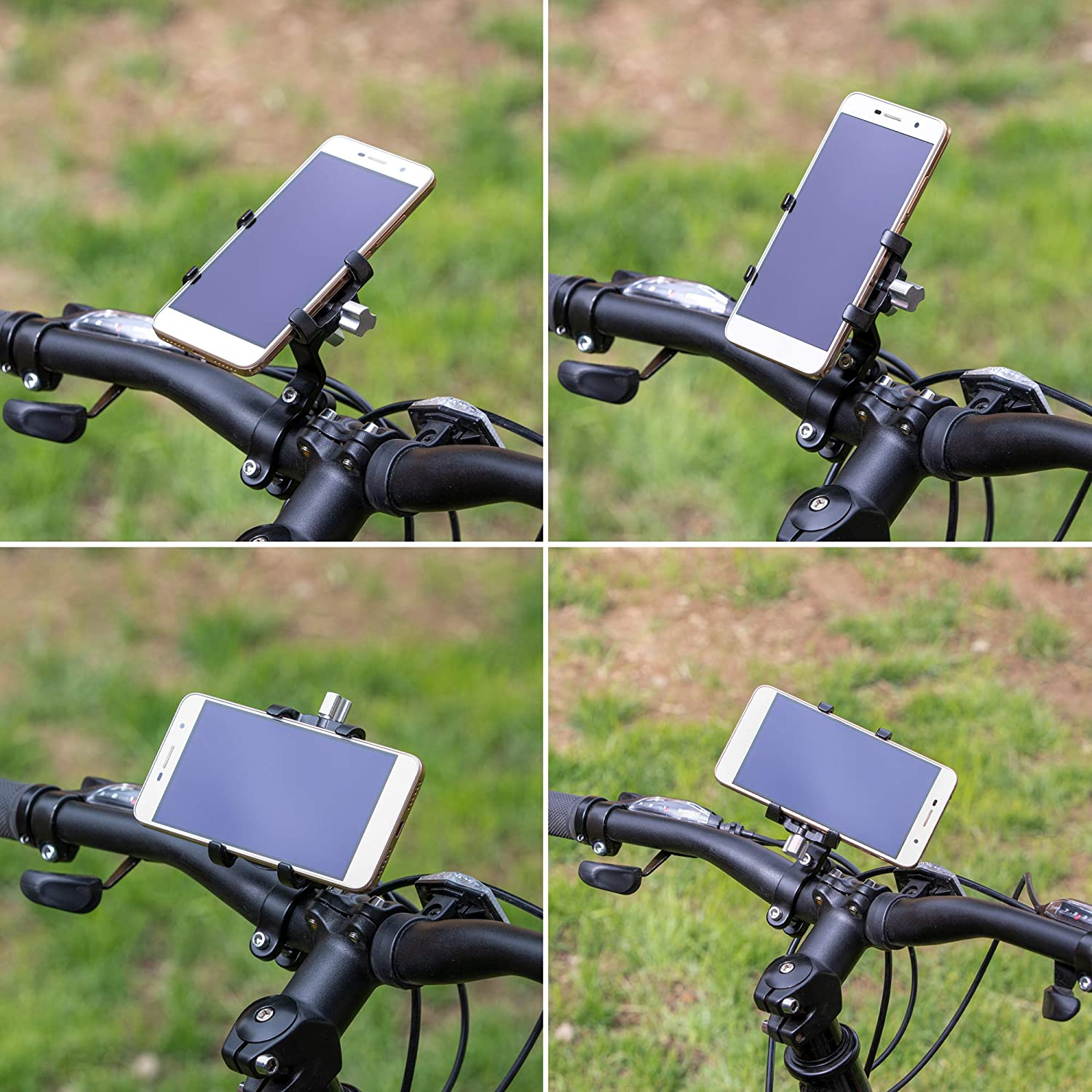 Bicycle /& Motorcycle Universal Phone Mount ,Aluminum Alloy Bike Phone Holder with 45/° Tilt and 360/° Rotation Full Angel Adjustment Fits for Most of Smartphones