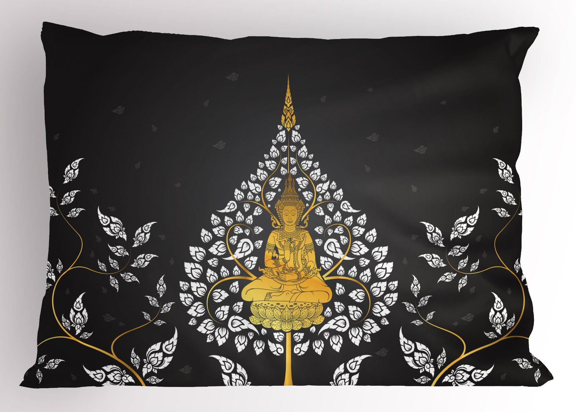 Lunarable Asian Pillow Sham, Ancient Religious Thai Character with Floral Elements Meditation, Decorative Standard Queen Size Printed Pillowcase, 30 X 20 inches, Charcoal Grey White Yellow by Lunarable