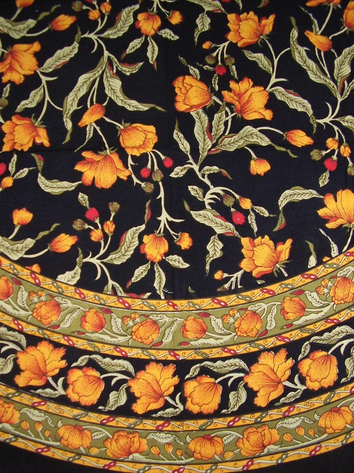 India Arts French Floral Round Cotton Tablecloth 70'' Amber on Black