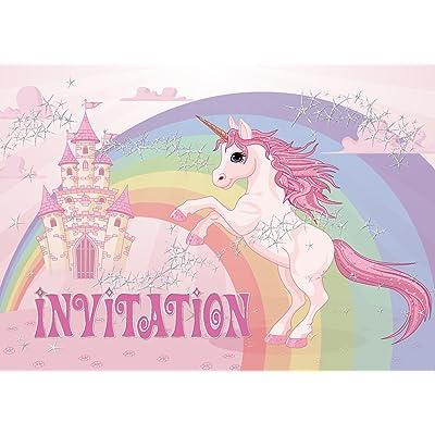 """10 """"LICORNE"""" invitations anniversaire fille: lot de 10 cartes d'invitation tendres et illustrées avec chevaux pour un anniversaire de fille des EDITION COLIBRI (10952 FR)"""
