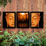 TIED RIBBONS Meditating Buddha' Framed Painting for Outdoor Decoration Items   Garden Decor and for Balcony (13.6 inch X 10.2 inch) - Set of 3
