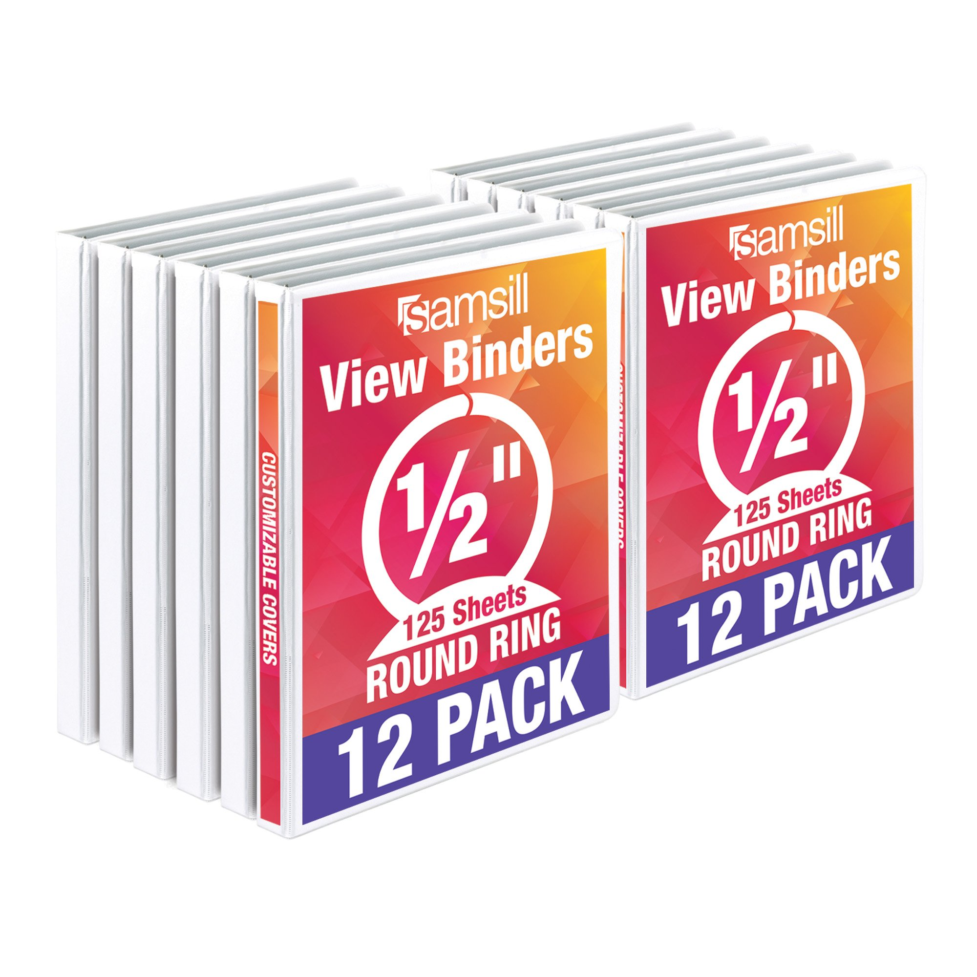 Samsill Economy 3 Ring View Binders.5 Inch Round Ring, Customizable Clear View Cover, White, Bulk Binders - 12 Pack
