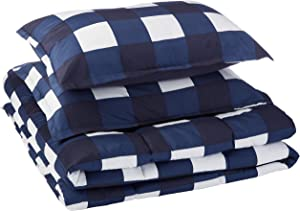 AmazonBasics Comforter Set, King, Navy Oversized Gingham, Microfiber, Ultra-Soft