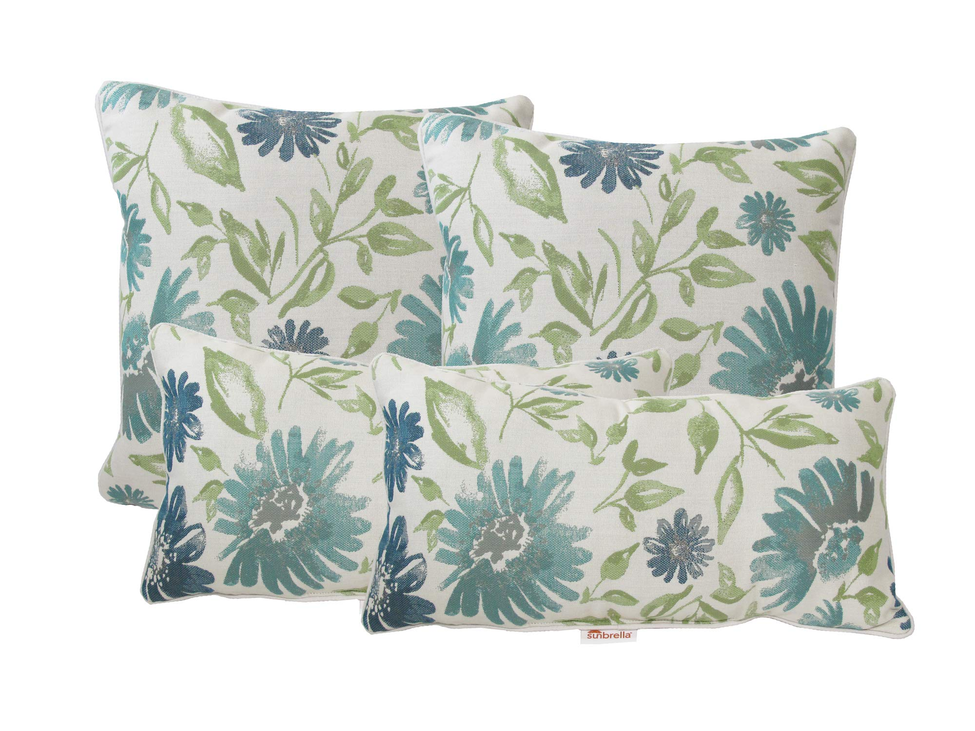 kingrattan.com Made in USA Sunbrella Violetta Baltic Corded Pillows (4-Pack)