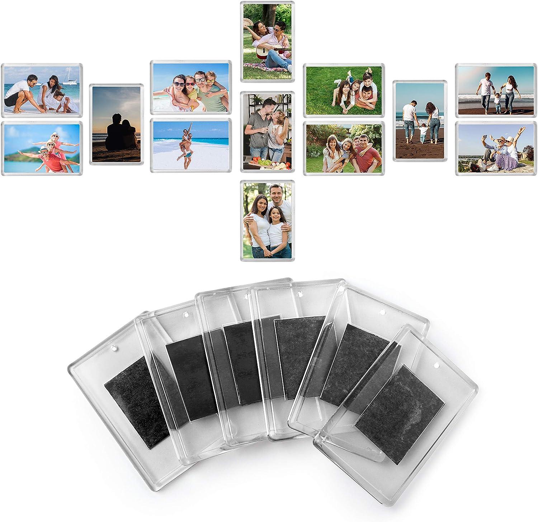 Kurtzy Marcos de Fotos en Blanco con Imán para Refrigerador - (Paquete de 50)- 7cm x 4.5cm Tamaño de inserción de Foto, Marcos Acrílico Transparente para Fotos Familiares y Diversión Niños