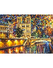 DIY Oil Paint by Number Kit,Painting Paintworks Romantic Eiffel Tower Paris Street View Drawing with Brushes 16 * 20 inch Christmas Decor Decorations Gifts(Without Frame)