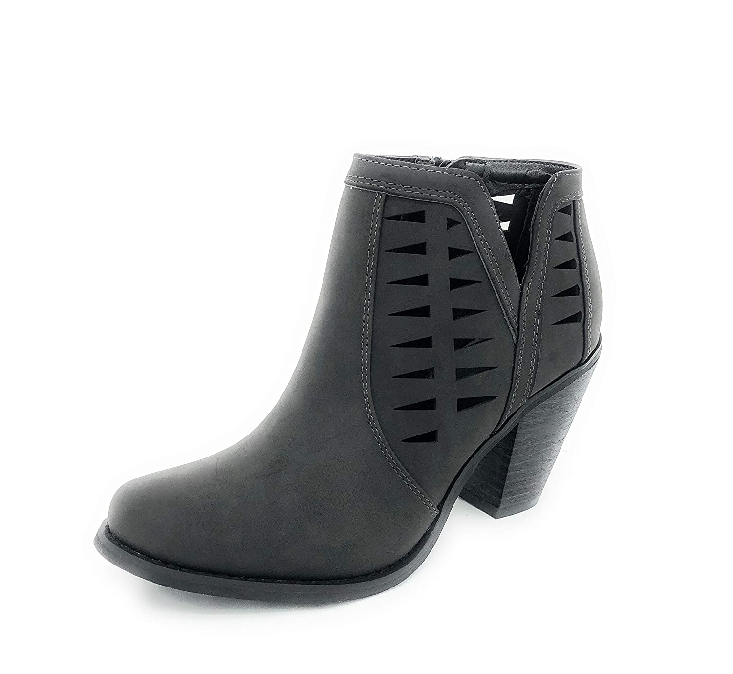 Black-irene-02 SOLE COLLECTION Faux Leather Suede Strap Side Zipper Chunky Block Heels Dress Ankle Boots