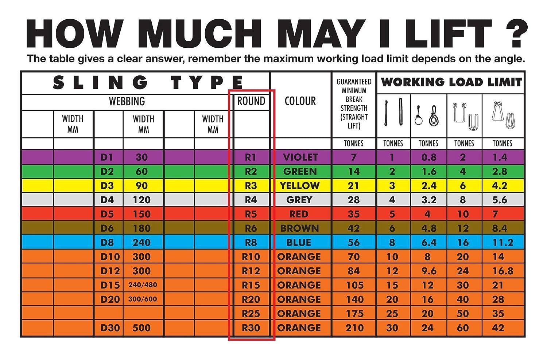 List/ón redondo de poli/éster 1 Tonne l/ímite de carga de trabajo de 1,0 tonelada 1