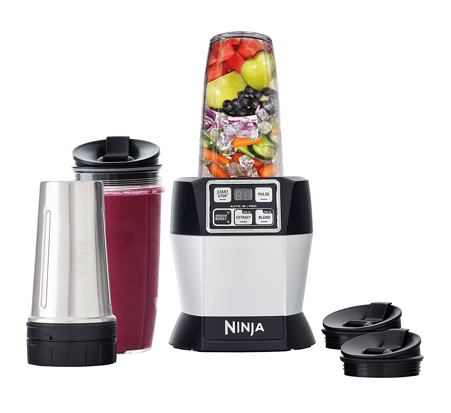 Nutri ninja blender system with auto iq technology - Amazon Com Ninja Nutri Auto Iq Pro Complete Blender Bl487 Kitchen Dining