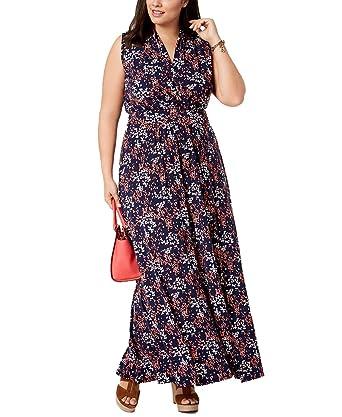 Michael Michael Kors Plus Size Floral-Print Side-Slit Maxi Dress ...