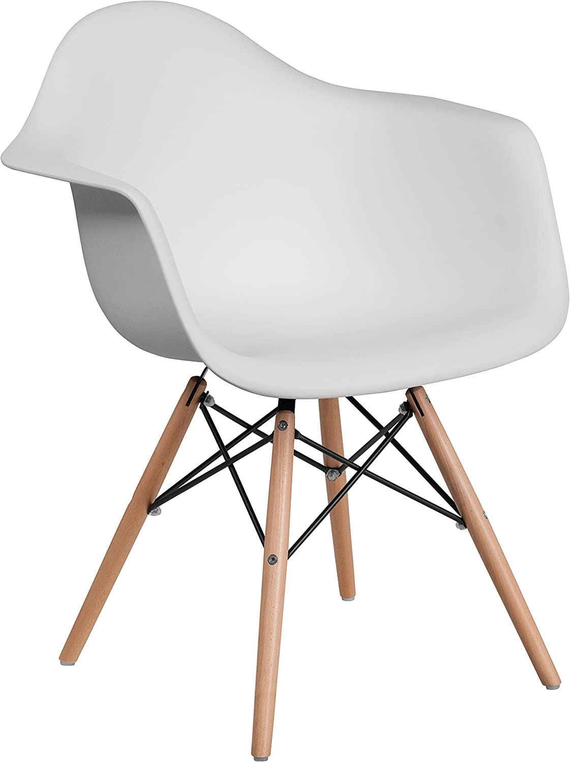 Flash Furniture Alonza Series White Plastic Chair with Wooden Legs