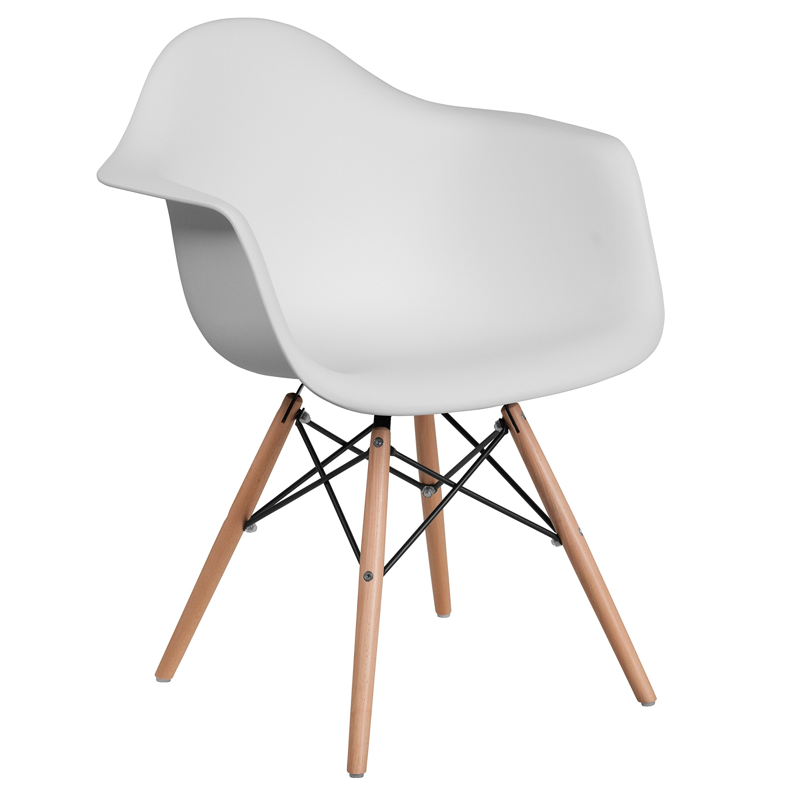 Flash Furniture Alonza Series White Plastic Chair with Wood Base