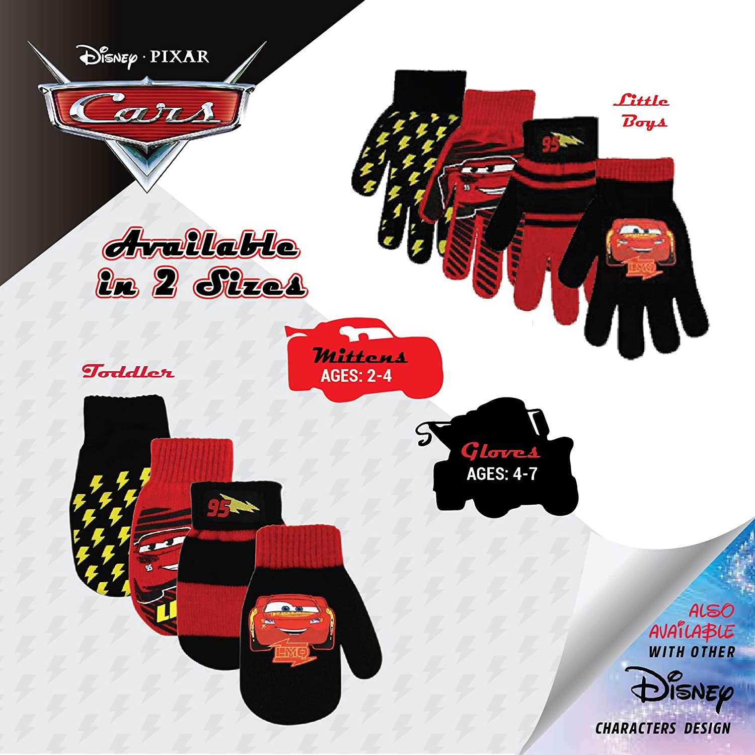 Cars Lighting McQueen Mickey Mouse Age 2-7 Disney Boys 4 Pack Mitten or Glove Set