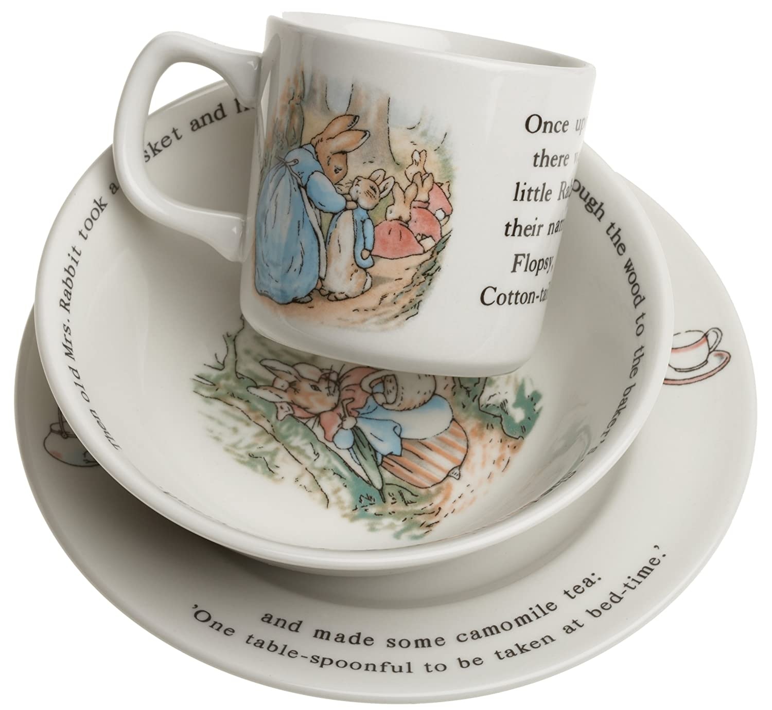 Amazon.com | Wedgwood Peter Rabbit Original 3-Piece Set Mug Plate and Bowl Dinnerware Sets Accent Plates  sc 1 st  Amazon.com & Amazon.com | Wedgwood Peter Rabbit Original 3-Piece Set Mug Plate ...