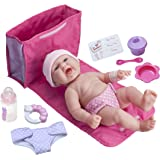 """LA NEWBORN 10 Piece Deluxe DIAPER BAG GIFT SET, featuring a 13"""" Realistic All Vinyl Smiling Baby Newborn Doll – Perfect for Children 2+"""
