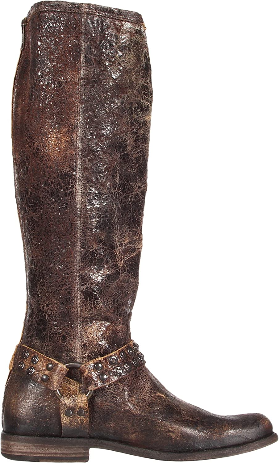 FRYE Women's Phillip Studded Harness Tall Boot B006NZG4L0 5.5 B(M) US|Chocolate Glazed Vintage Leather