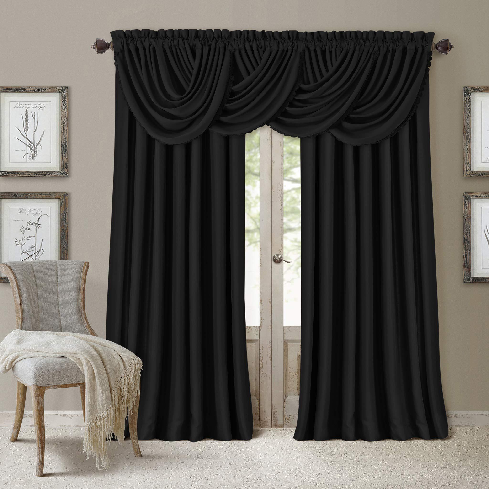 Elrene Home Fashions All Seasons Energy Efficient Room Darkening Rod Pocket Window Panel, 52'' x 84'' (1), Black by Elrene