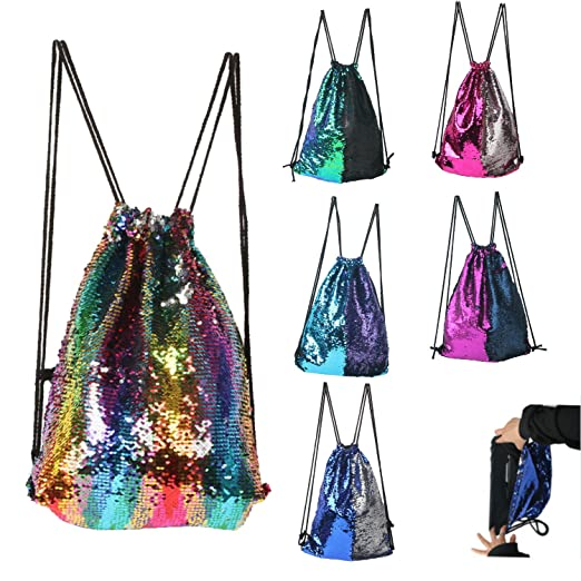 BABYHYY Fashion Glitter Drawstring Backpack Sequins Mermaid Sequins Magic Reversible Glitter String Bag Gym Yoga Backpack