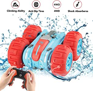 Apsung Waterproof RC Remote Control Stunt Car, 2.4Ghz 4WD Water and Land RC Car Toys for Kids Halloween Christmas Birthday Gift