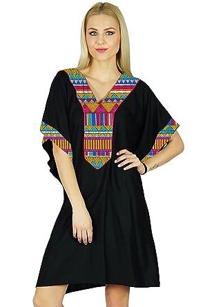 52f035f93bc Bimba Femmes court Rayon Kaftan manches kimono noir Caftan Boho Dress  Coverup