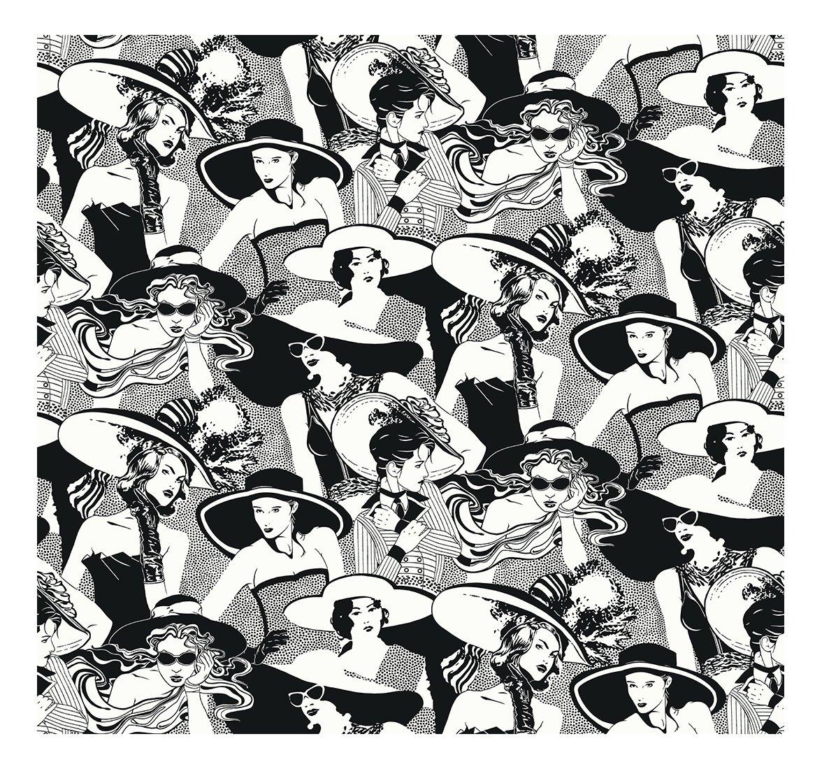 York Wallcoverings BL0332SMP Tres Chic Ladies In WiDebrim 8 x 10 Wallpaper Memo Sample