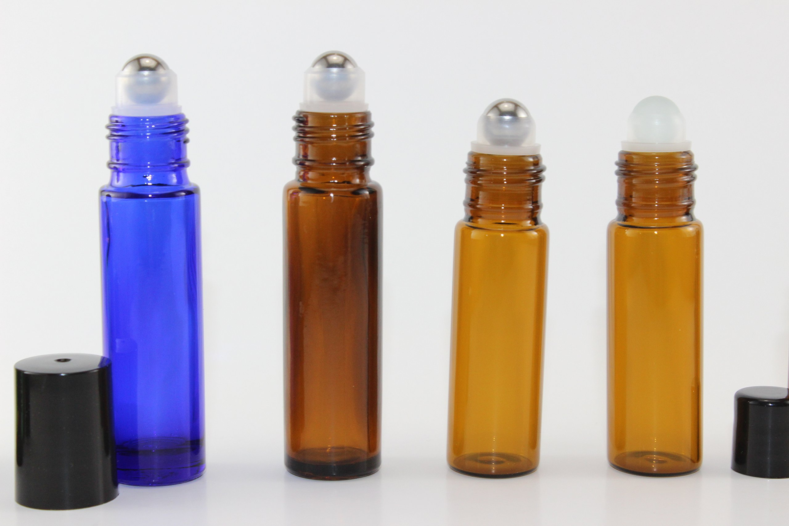 144-10ml Amber Glass Roll On Thick Bottles (144) with Stainless Steel Roller Balls - Refillable Aromatherapy Essential Oil Roll On (144)