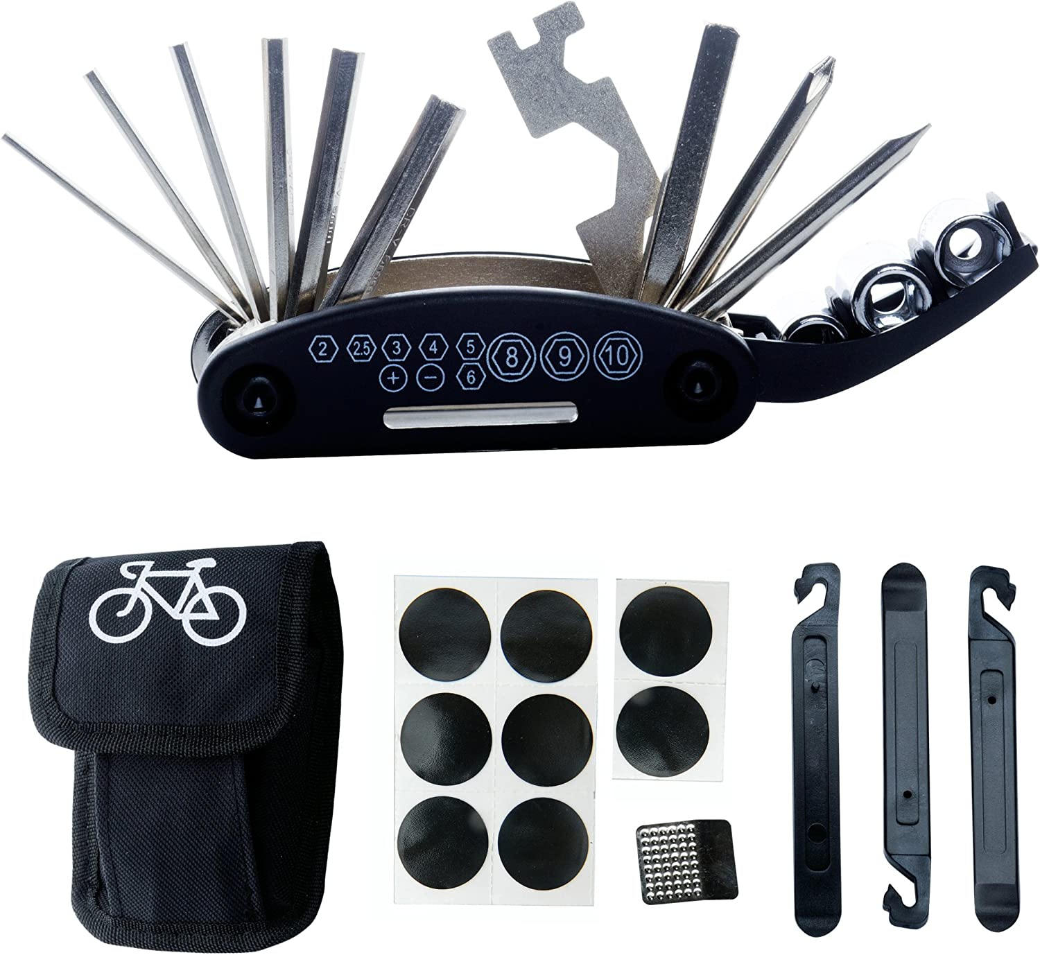 DAWAY B32 Bike Repair Tool Kits - 16 in 1 Multi Function Bicycle Mechanic Fix Tools Set Bag Included Glueless Tire Tube Patches & Tire Levers : Sports & Outdoors