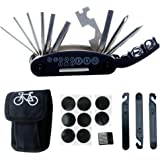 DAWAY Bike Bicycle Repair Tool Kit B32 Cycling Multifunctional Mechanic Fix Tools Set Bag, 16 in 1 Multifunction Tool, Tire Levers, Self Adhesive Tyre Tube Patch Included, 6 Month Warranty