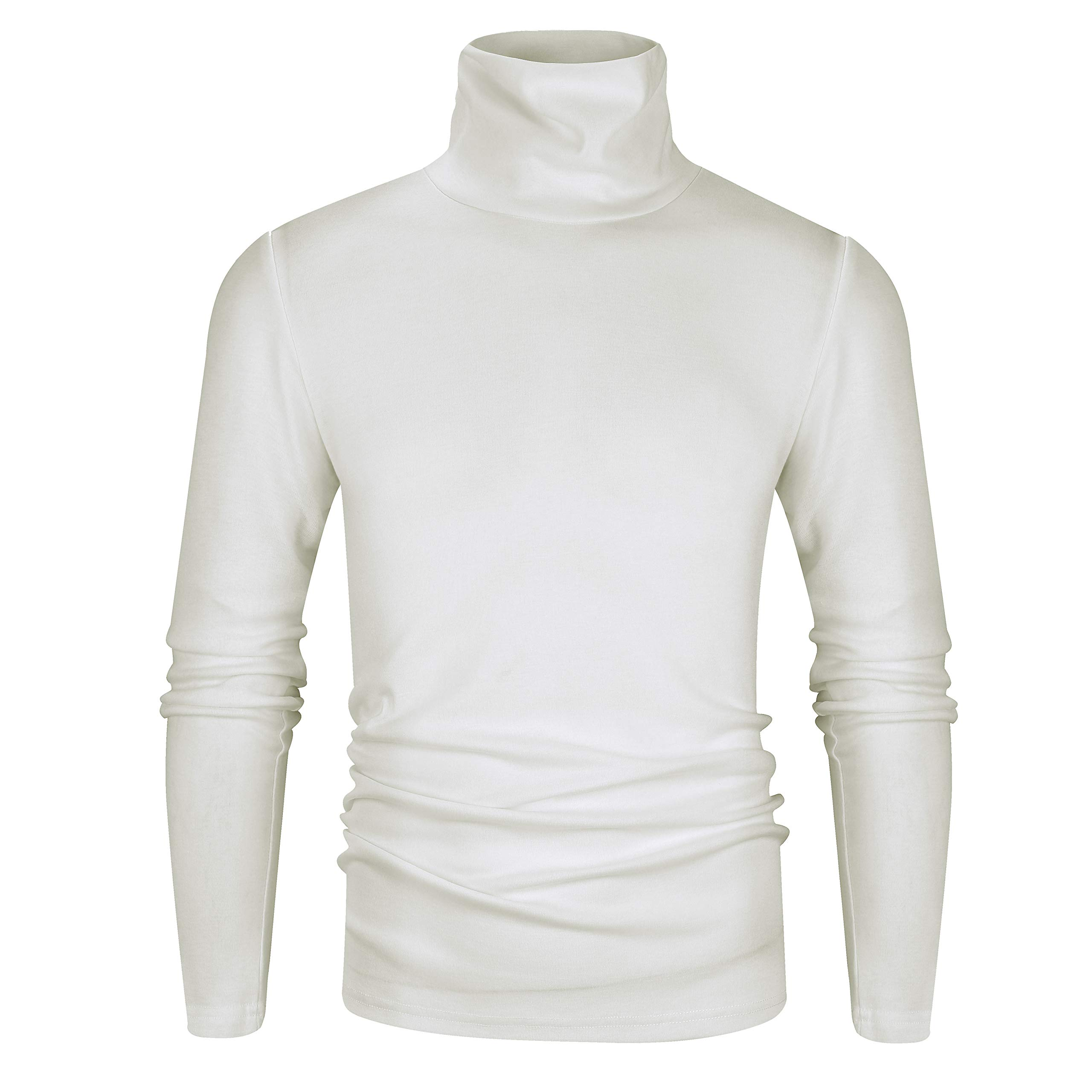 Fresca Men's White Long Sleeve Essential Turtleneck Wearable Sweater Pullover Basic Work Undershirt Supersoft Comfortable Thermal T-Shirts Ivory Large by Fresca