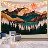 Cpaoo Tapestries Wall Hanging Wall Decor Mountain Tapestries Bohemian Colorful Abstract Figure Forest Tree Animate…