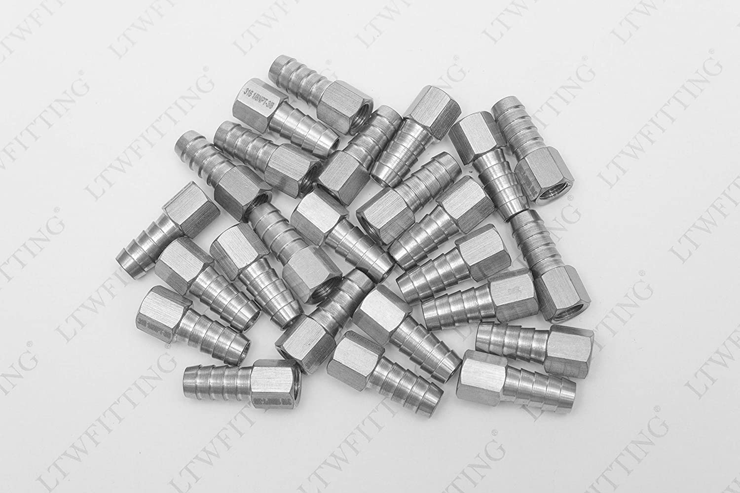 LTWFITTING Bar Production Stainless Steel 316 Barb Fitting Coupler 3//8 Hose ID x 1//8 Female NPT Air Fuel Water Pack of 25