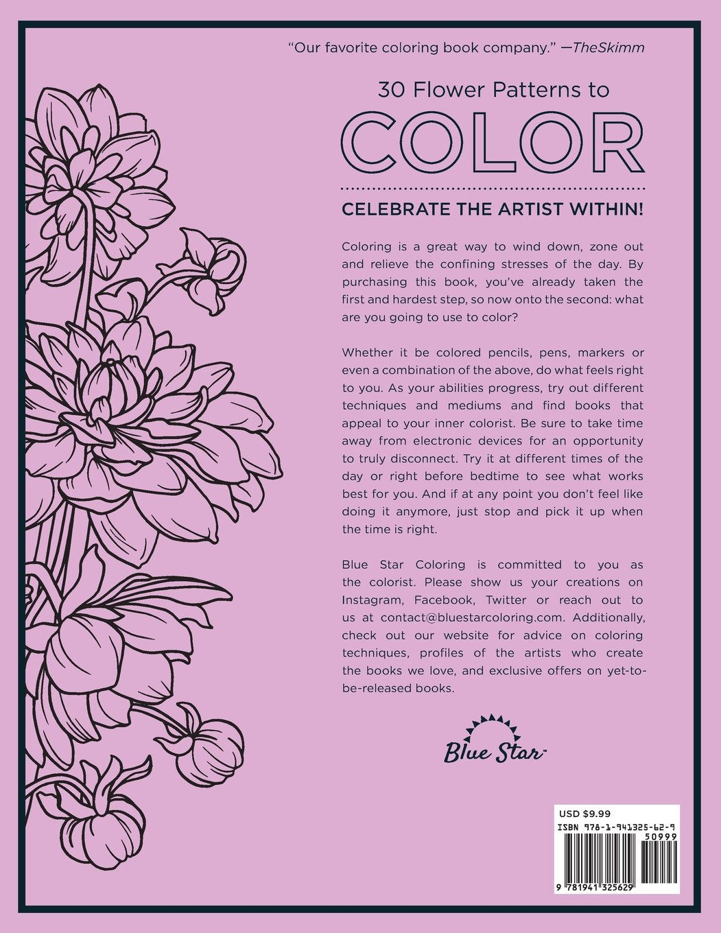 coloring book stress relieving flower patterns blue star