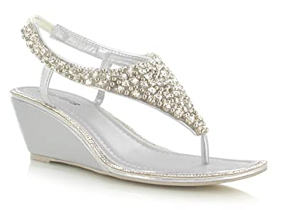 a43147fef8d0 Silver Diamante Pearl Toe Post Mid Heel Wedge Detailing Classy Sandals -  Summer Night out with the girls