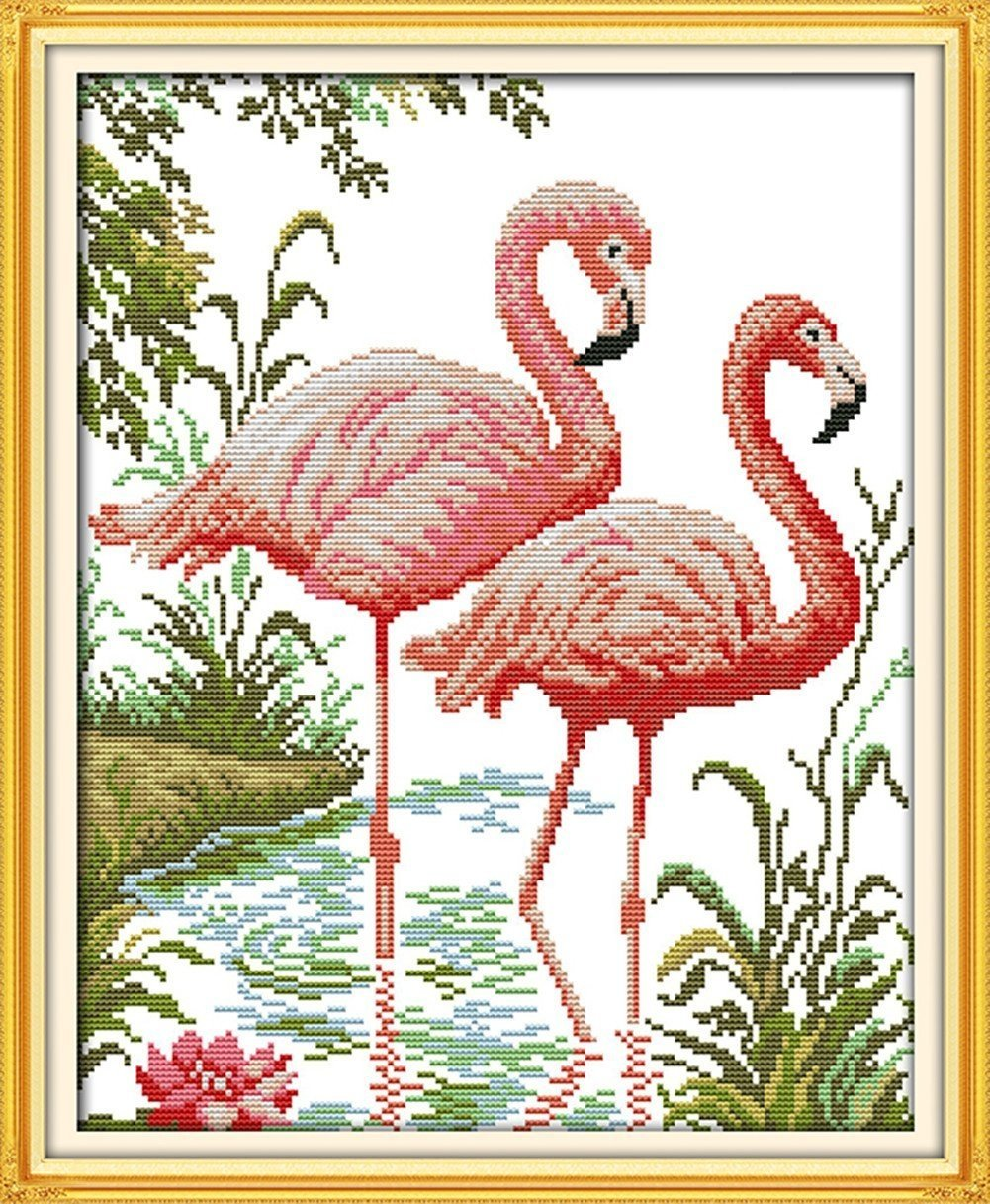 WHITE Two Flamingos CaptainCrafts Hots Cross Stitch Kits Patterns Embroidery Kit